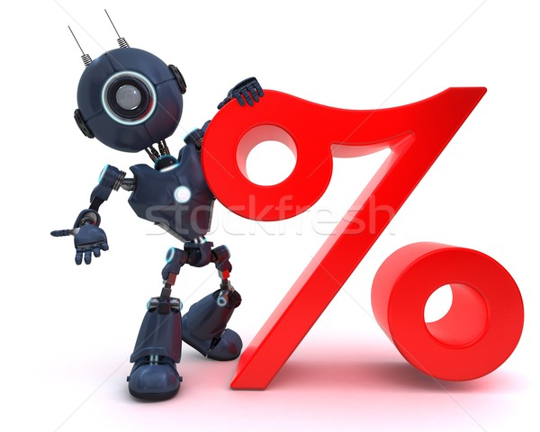Android percentage symbool 3d render business technologie Stockfoto © kjpargeter