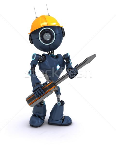 Android oluşturucu tornavida 3d render adam inşaat Stok fotoğraf © kjpargeter