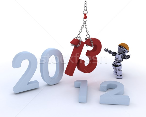 Robot bringing in the new year Stock photo © kjpargeter