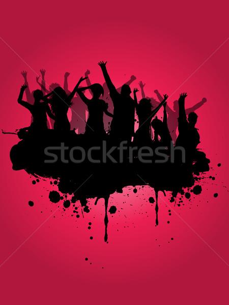 Grunge buli sziluett tömeg lány férfi Stock fotó © kjpargeter