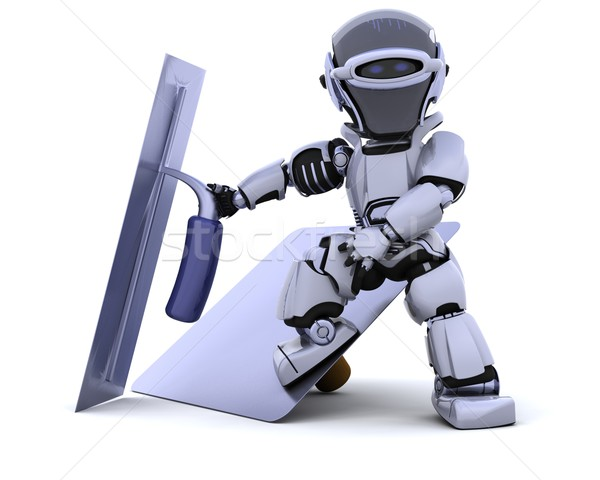 robot with plastering tools [hawk and trowel] Stock photo © kjpargeter