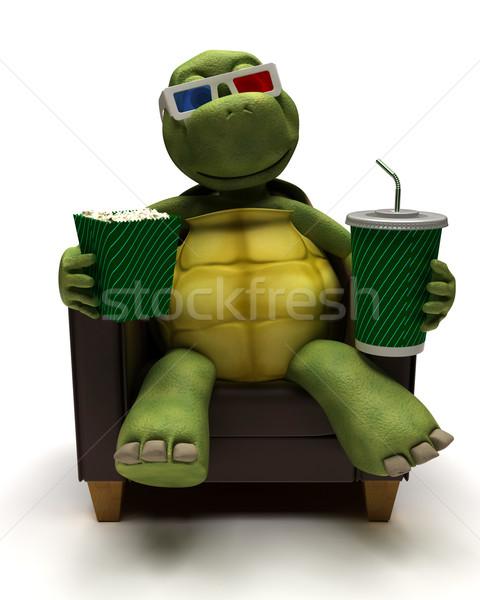 Tortuga sillón potable sosa viendo 3D Foto stock © kjpargeter