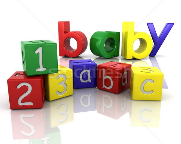 Baba tömbházak babák játék kockák Stock fotó © kjpargeter