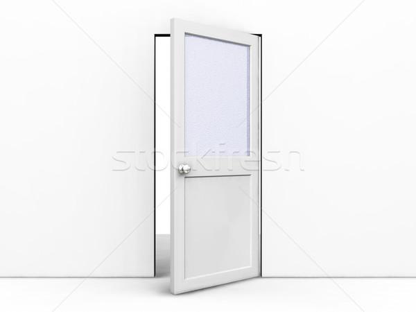 Nyitott ajtó 3d render fal belső ötlet nyitva Stock fotó © kjpargeter