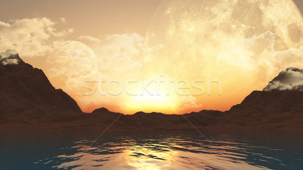 3D landscape with planets and ocean Stock photo © kjpargeter