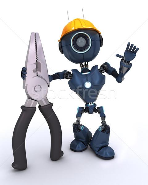 Android oluşturucu 3d render adam çalışmak robot Stok fotoğraf © kjpargeter