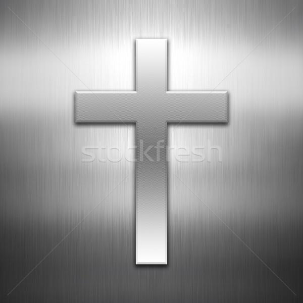 Cross shape on a brushed metal background Stock photo © kjpargeter