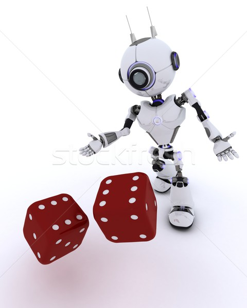 Robot with dice Stock photo © kjpargeter