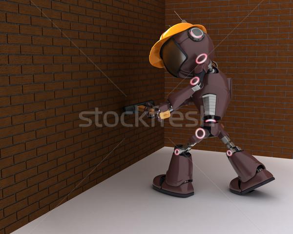 Foto stock: Andróide · construtor · 3d · render · homem · construção · martelo