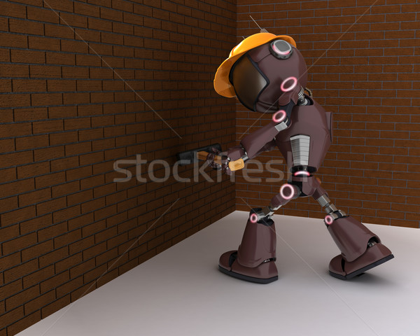 Androide constructor 3d hombre construcción martillo Foto stock © kjpargeter
