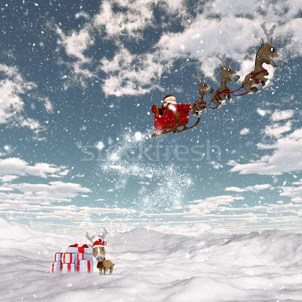 Snowy landscape with santa and his reindeers Stock photo © kjpargeter