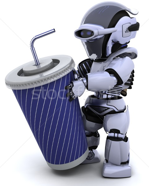 robot with a giant soda cup and straw Stock photo © kjpargeter
