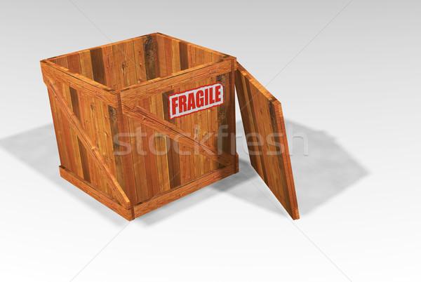 Otwarte skrzynia kruchy naklejki tle Zdjęcia stock © kjpargeter