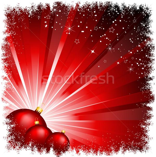 christmas baubles on starburst Stock photo © kjpargeter