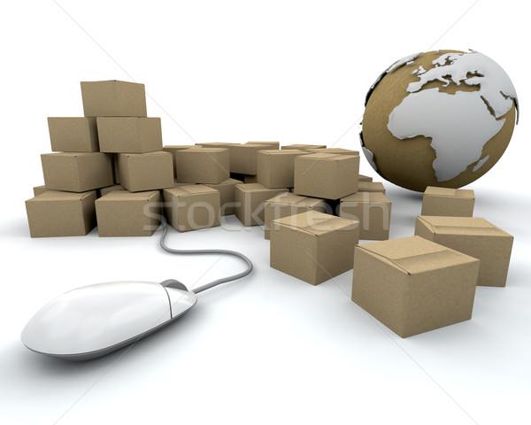 Stockfoto: Globale · levering · afbeelding · wereldbol · wereld · muis