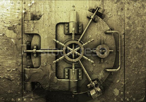 Grunge bank agykoponya stílus fém kosz Stock fotó © kjpargeter