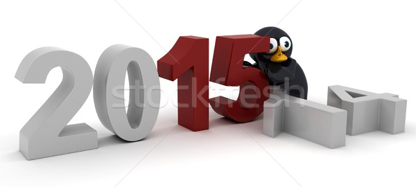 penguin Bringing in the New Year Stock photo © kjpargeter