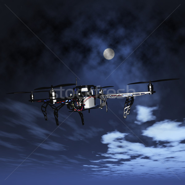 3D drone flying in a night sky Stock photo © kjpargeter