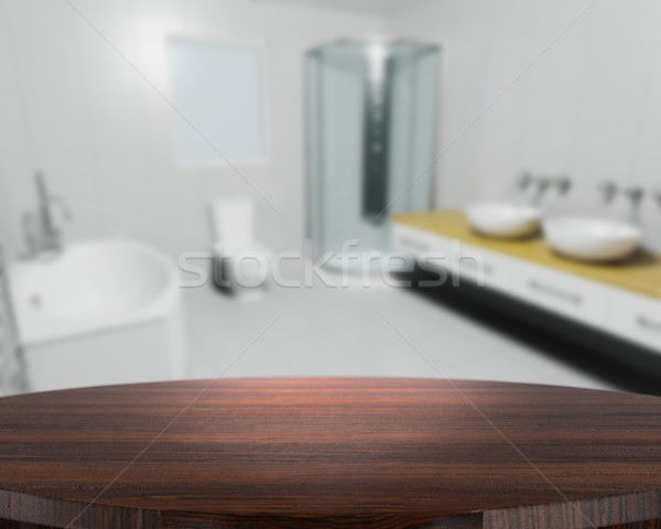 Wooden table with defocussed contemporary bathroom Stock photo © kjpargeter