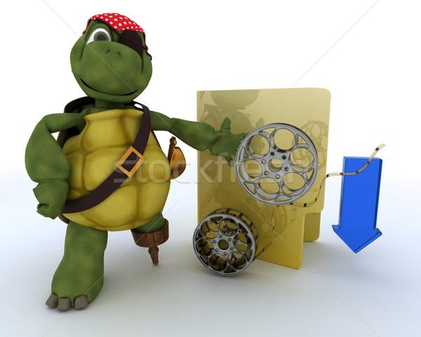Pirate tortue illégal film rendu 3d film Photo stock © kjpargeter
