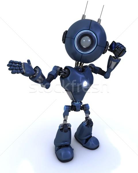 Android mobiltelefon 3d render technológia mobil robot Stock fotó © kjpargeter
