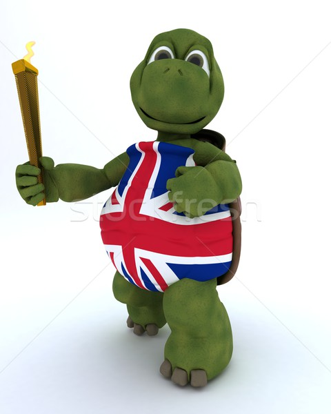 tortoise running with othe olympic torch Stock photo © kjpargeter