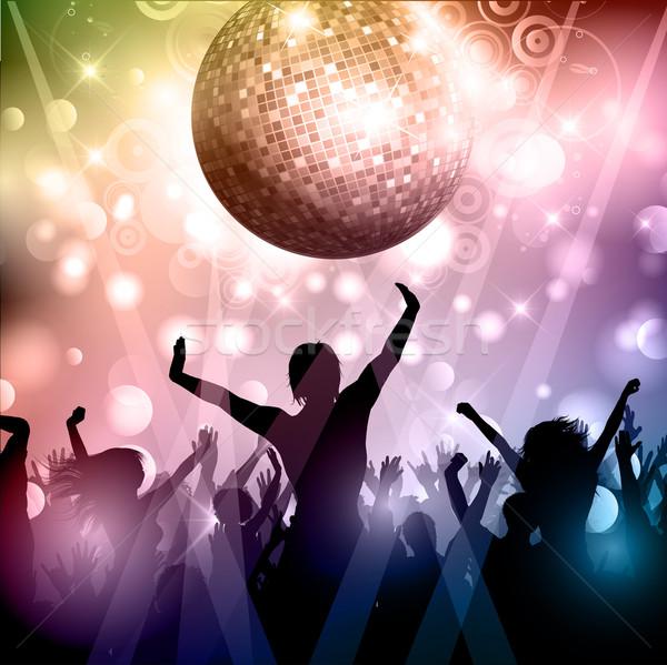 Festa multidão silhueta discoball menina homem Foto stock © kjpargeter