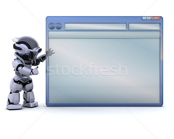 robot with empty computer window Stock photo © kjpargeter