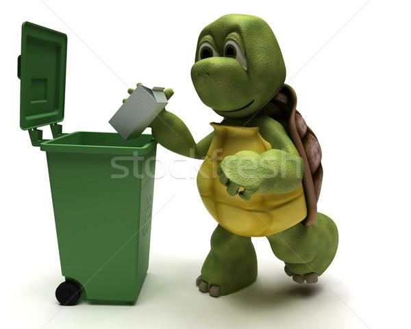 Tartaruga cesto de lixo 3d render água oceano reciclar Foto stock © kjpargeter