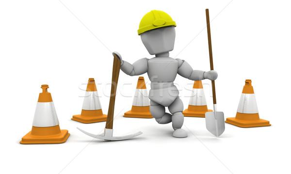 Stockfoto: Werknemer · 3d · render · vrouw · werk · hoed
