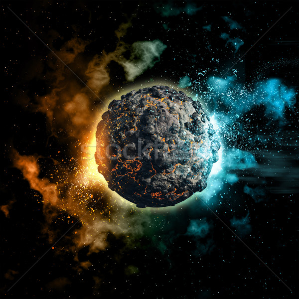 Space background with volcanic planet Stock photo © kjpargeter