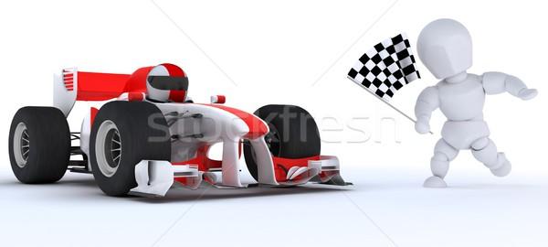 Adam yarış arabası kazanan bayrak 3d render Stok fotoğraf © kjpargeter
