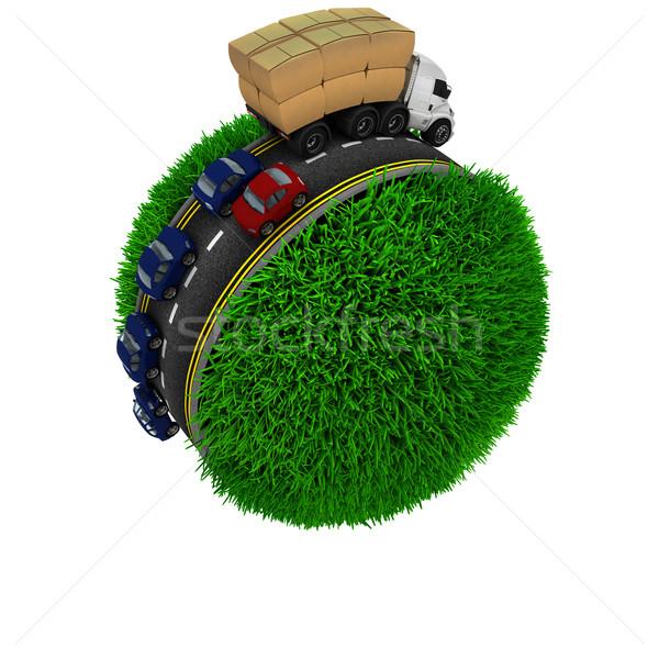 Road around a grassy globe Stock photo © kjpargeter