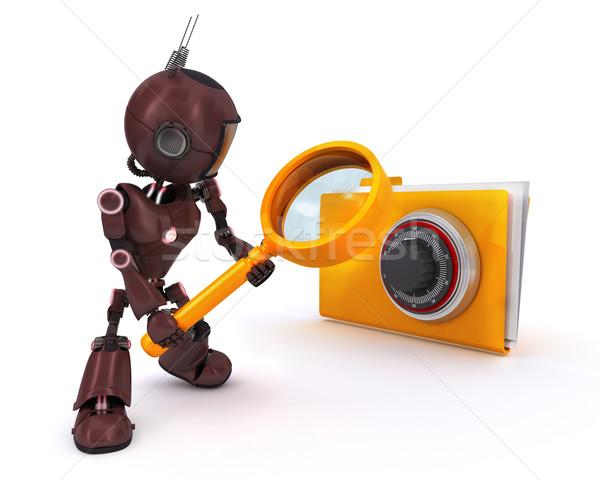 Android zoeken bestanden 3d render internet robot Stockfoto © kjpargeter
