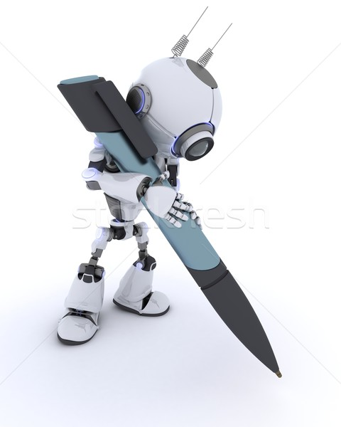 Robot writing with a pen Stock photo © kjpargeter