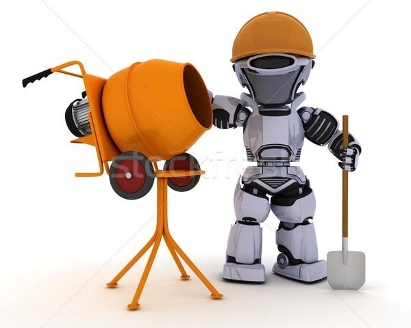 Robot építész cement keverő 3d render férfi Stock fotó © kjpargeter