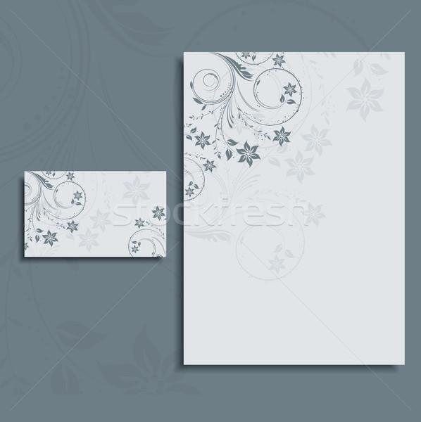 Briefkopf Visitenkarte Layout floral Design Stock foto © kjpargeter