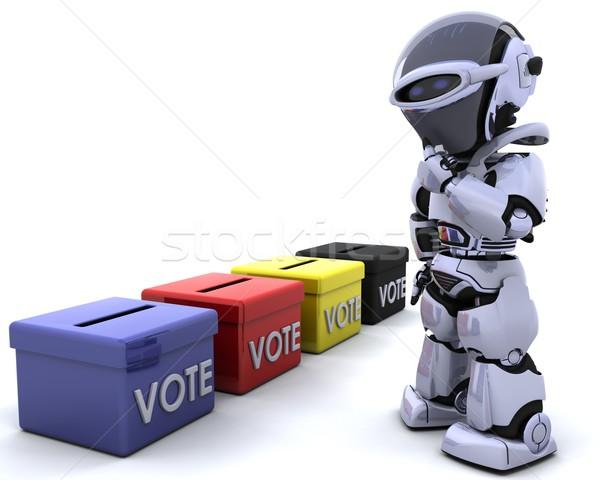 Választás nap szavazócédula doboz 3d render dobozok Stock fotó © kjpargeter