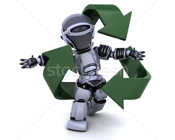 robot and recycle sign Stock photo © kjpargeter