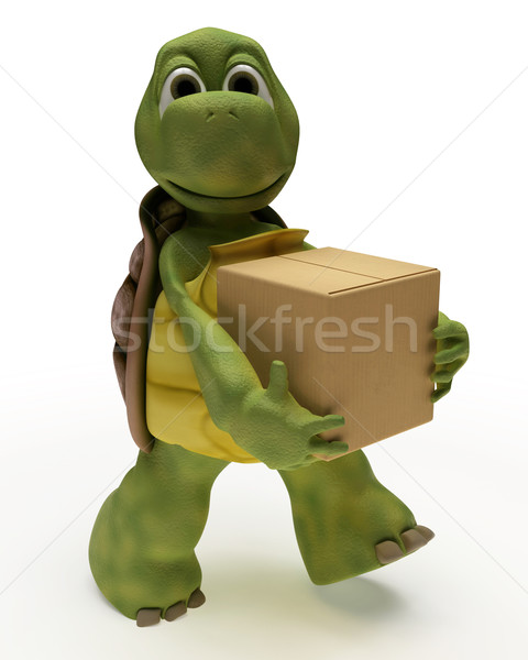 Tortoise Caricature carrying packing cartons Stock photo © kjpargeter