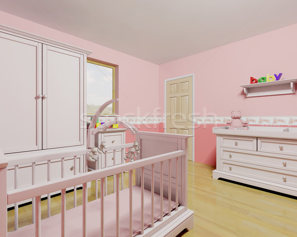 Nursery for baby girl Stock photo © kjpargeter