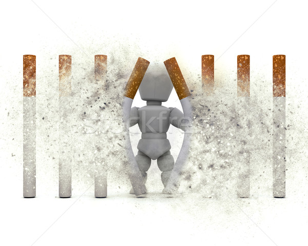 3D figure escaping a cigarette prison with explosion effect Stock photo © kjpargeter