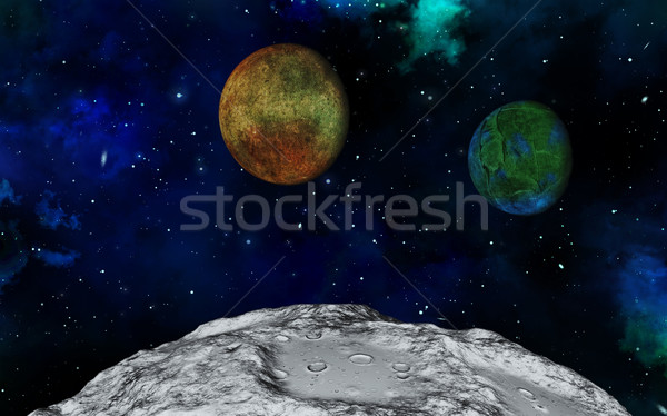 Abstract 3D space scene Stock photo © kjpargeter