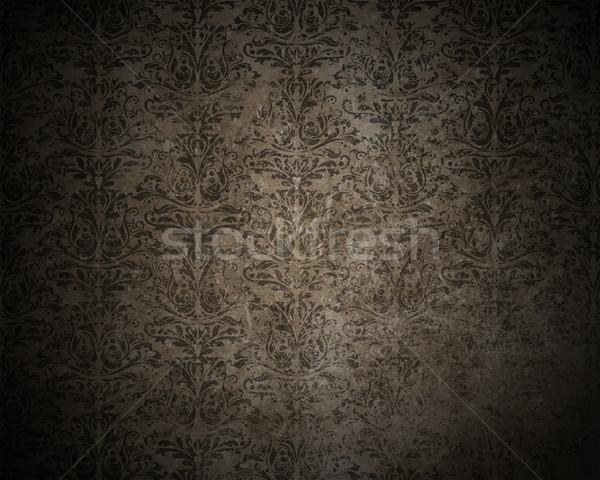 Klasszikus damaszt részletes sötét grunge terv Stock fotó © kjpargeter