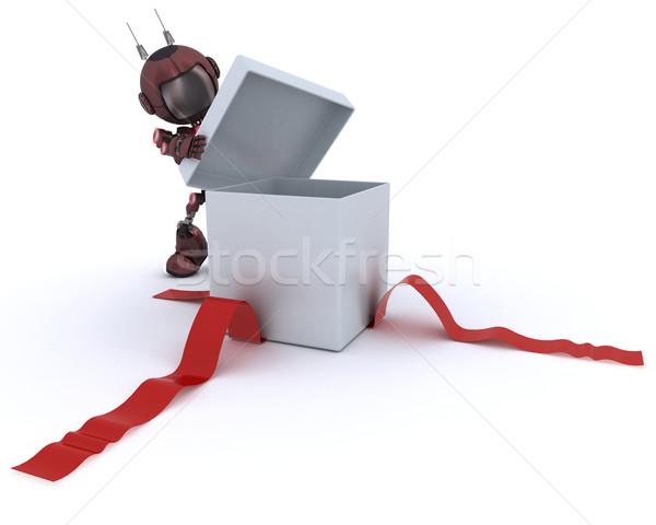 Androide apertura regalo 3d hombre rojo Foto stock © kjpargeter