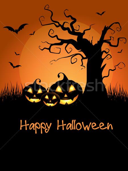 Halloween assustador assustador árvore abóboras paisagem Foto stock © kjpargeter