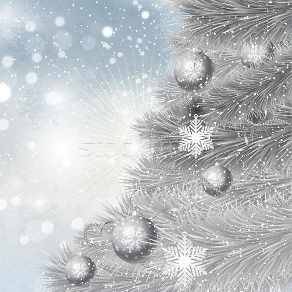 Silver Christmas tree background  Stock photo © kjpargeter
