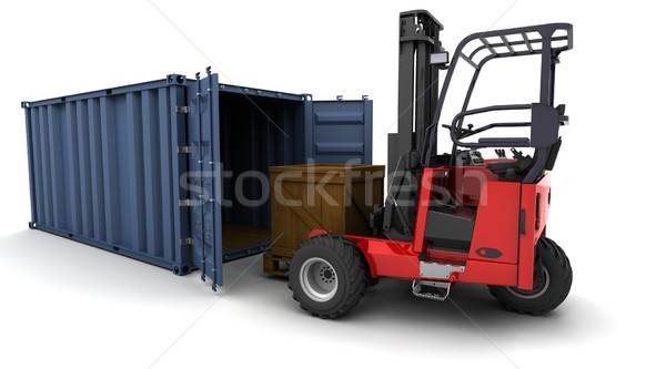 forklift truck loading a container Stock photo © kjpargeter
