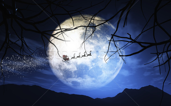 Santa Claus and his sleigh flying in a moonlit sky Stock photo © kjpargeter