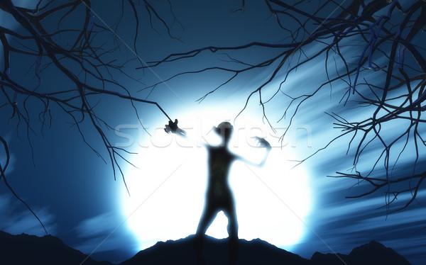 3D demoniczny rysunku przeciwmgielne 3d drzewo Zdjęcia stock © kjpargeter